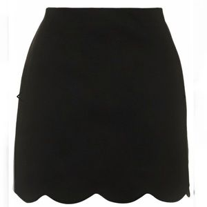 Topshop black Scallop Hem Mini Skirt